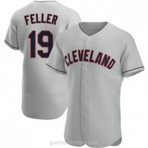 Mens Bob Feller Cleveland Indians #19 Authentic Gray Road A592 Jersey