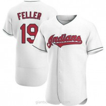 Mens Bob Feller Cleveland Indians #19 Authentic White Home A592 Jersey