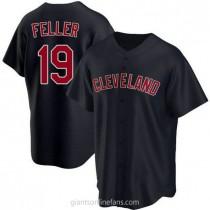 Mens Bob Feller Cleveland Indians #19 Replica Navy Alternate A592 Jersey