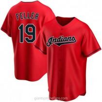 Mens Bob Feller Cleveland Indians #19 Replica Red Alternate A592 Jerseys