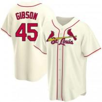 Mens Bob Gibson St Louis Cardinals #45 Cream Alternate A592 Jerseys Replica