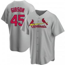 Mens Bob Gibson St Louis Cardinals #45 Gray Road A592 Jersey Replica