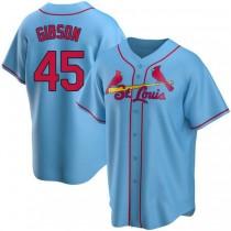 Mens Bob Gibson St Louis Cardinals #45 Light Blue Alternate A592 Jerseys Replica