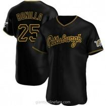 Mens Bobby Bonilla Pittsburgh Pirates #25 Authentic Black Alternate Team A592 Jerseys