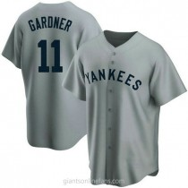 Mens Brett Gardner New York Yankees #11 Replica Gray Road Cooperstown Collection A592 Jersey