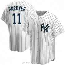 Mens Brett Gardner New York Yankees #11 Replica White Home A592 Jerseys