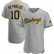 Mens Bryan Reynolds Pittsburgh Pirates #10 Authentic Gray Road A592 Jerseys