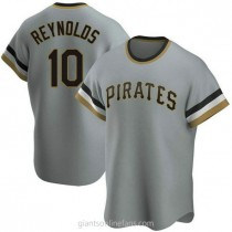 Mens Bryan Reynolds Pittsburgh Pirates #10 Replica Gray Road Cooperstown Collection A592 Jerseys