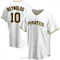 Mens Bryan Reynolds Pittsburgh Pirates #10 Replica White Home A592 Jersey