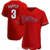 Mens Bryce Harper Philadelphia Phillies #3 Authentic Red Alternate A592 Jerseys