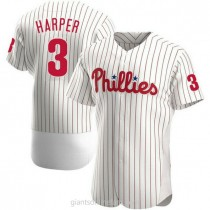 Mens Bryce Harper Philadelphia Phillies #3 Authentic White Home A592 Jersey