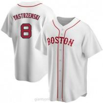 Mens Carl Yastrzemski Boston Red Sox #8 Replica White Alternate A592 Jerseys