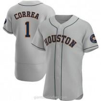 Mens Carlos Correa Houston Astros #1 Authentic Gray Road A592 Jerseys