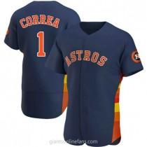 Mens Carlos Correa Houston Astros #1 Authentic Navy Alternate A592 Jersey