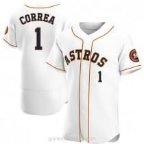 Mens Carlos Correa Houston Astros #1 Authentic White Home A592 Jersey