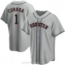 Mens Carlos Correa Houston Astros #1 Replica Gray Road A592 Jerseys
