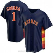 Mens Carlos Correa Houston Astros #1 Replica Navy Alternate A592 Jerseys
