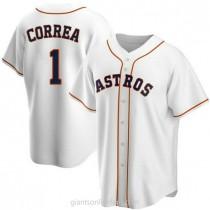 Mens Carlos Correa Houston Astros #1 Replica White Home A592 Jerseys