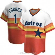 Mens Carlos Correa Houston Astros #1 Replica White Home Cooperstown Collection A592 Jersey