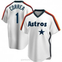 Mens Carlos Correa Houston Astros #1 Replica White Home Cooperstown Collection Team A592 Jersey