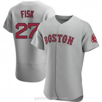 Mens Carlton Fisk Boston Red Sox #27 Authentic Gray Road A592 Jersey
