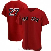 Mens Carlton Fisk Boston Red Sox #27 Authentic Red Alternate Team A592 Jerseys