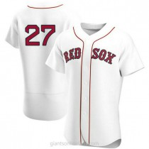 Mens Carlton Fisk Boston Red Sox #27 Authentic White Home Team A592 Jerseys