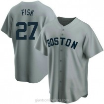 Mens Carlton Fisk Boston Red Sox #27 Replica Gray Road Cooperstown Collection A592 Jerseys