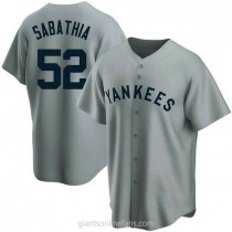 Mens Cc Sabathia New York Yankees #52 Replica Gray Road Cooperstown Collection A592 Jersey