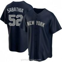 Mens Cc Sabathia New York Yankees #52 Replica Navy Alternate A592 Jerseys