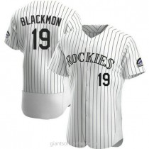 Mens Charlie Blackmon Colorado Rockies #19 Authentic White Home A592 Jersey