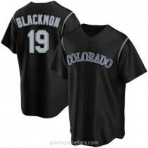 Mens Charlie Blackmon Colorado Rockies #19 Replica Black Alternate A592 Jerseys