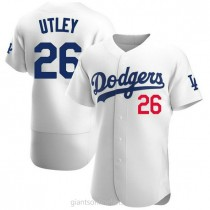 Mens Chase Utley Los Angeles Dodgers #26 Authentic White Home Official A592 Jerseys