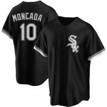 Mens Chicago White Sox #10 Yoan Moncada Replica Black Alternate Jersey