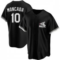 Mens Chicago White Sox #10 Yoan Moncada Replica Black Spring Training Jersey