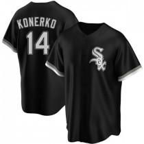 Mens Chicago White Sox #14 Paul Konerko Replica Black Alternate Jersey