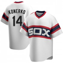 Mens Chicago White Sox #14 Paul Konerko Replica White Cooperstown Collection Jersey