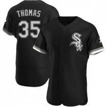 Mens Chicago White Sox #35 Frank Thomas Authentic Black Alternate Jersey