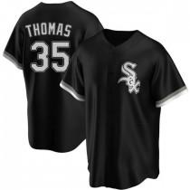 Mens Chicago White Sox #35 Frank Thomas Replica Black Alternate Jersey