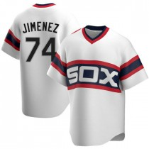 Mens Chicago White Sox #74 Eloy Jimenez Replica White Cooperstown Collection Jersey