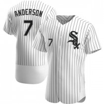 Mens Chicago White Sox #7 Tim Anderson Authentic White Home Jersey