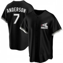 Mens Chicago White Sox #7 Tim Anderson Replica Black Spring Training Jersey