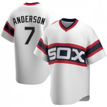 Mens Chicago White Sox #7 Tim Anderson Replica White Cooperstown Collection Jersey