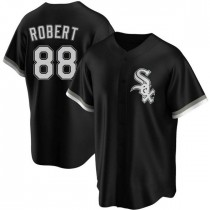 Mens Chicago White Sox #88 Luis Robert Replica Black Alternate Jersey