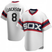 Mens Chicago White Sox #8 Bo Jackson Replica White Cooperstown Collection Jersey
