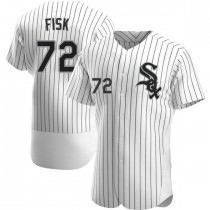Mens Chicago White Sox Carlton Fisk Authentic White Home Jersey