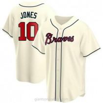 Mens Chipper Jones Atlanta Braves #10 Replica Cream Alternate A592 Jerseys