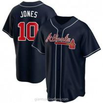 Mens Chipper Jones Atlanta Braves #10 Replica Navy Alternate A592 Jerseys
