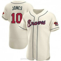Mens Chipper Jones Atlanta Braves Authentic Cream Alternate A592 Jersey
