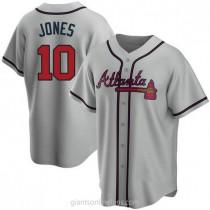 Mens Chipper Jones Atlanta Braves Replica Gray Road A592 Jersey